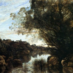"""Jean-Baptiste-Camille Corot Souvenir of the Lake Nemi Region   Print - 16"""" x 24"""" Jean-Baptiste-Camille Corot Souvenir of the Lake Nemi Region premium archival print reproduced to meet museum quality standards. Our museum quality archival prints are produced using high-precision print technology for a more accurate reproduction printed on high quality, heavyweight matte presentation paper with fade-resistant, archival inks. Our progressive business model allows us to offer works of art to you at the best wholesale pricing, significantly less than art gallery prices, affordable to all. This line of artwork is produced with extra white border space (if you choose to have it framed, for your framer to work with to frame properly or utilize a larger mat and/or frame).  We present a comprehensive collection of exceptional art reproductions byJean-Baptiste-Camille Corot."""