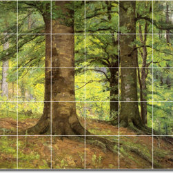 Picture-Tiles, LLC - Beech Trees Tile Mural By Theodore Steele - * MURAL SIZE: 30x36 inch tile mural using (30) 6x6 ceramic tiles-satin finish.
