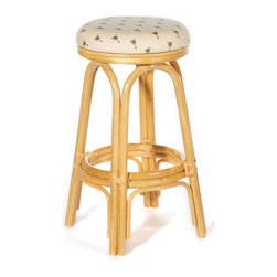 "Hospitality Rattan - Carmen Indoor Rattan 30"" Swivel Bar Stool in Natural Finish - A traditional wicker and rattan swivel bar stool that is built with solid rattan pole construction. The Carmen Collection offers three basic finishes. The bar stools and counter stools feature commercial grade reinforced rattan bases, swivel mechanisms & reinforced double pole footrests. In addition your choice of over 35 fabrics is available on the Carmen Collection. The stool will come with instructions and requires assembly. Features: -Traditional indoor rattan and wicker swivel bar stool. -Finished in natural color. -Includes cushion with choice of fabric in a variety of colors and patterns. -Commercial grade reinforced rattan bases. -Swivel mechanism included. -Reinforced double pole footrests. -Constructed of commercial quality rattan poles. -Requires some assembly (instructions included). -Overall dimensions: 29"" H x 16"" W x 16"" D."