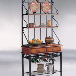 Coaster - Oak Country Storage Rack - Dirty oak finish baker's rack with 2 drawers and wine rack.