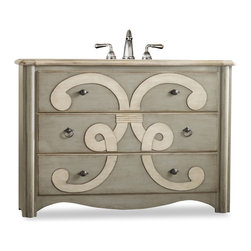 Cole and Co - Chamberlain Sink Chest - A bold artistic motif adorns the Chamberlain Sink Chest. The three drawers are lined with a lovely wallpaper.  The two styles of pulls are finished in an antiqued pewter.  Two of the three drawers can be used for storage. The Chamberlain is constructed of hardwood solids and veneers. Dimensions: 51 in. x 20 in.