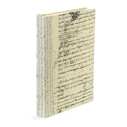 Go Home - Single Ivory Script Book - Single Ivory Script Book can give a common thread to decor where the presence of history is an element of design.Book sizes may slightly vary.