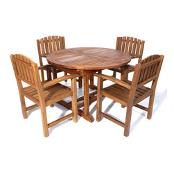 All Things Cedar - 5pc. Teak Oval Extension Table Dining Chair Set - This 5pc. Promo Set Includes 1 TE70 Rectangle Extension Table + 4 TD20 Teak Dining Chairs. Item is made to order.