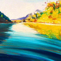 """Ann Rea - Bring home the Russian River with """"Lush River"""" by Ann Rea, oil painting - """"Nature is thicker and more lush along the Russian River waters."""" -Ann Rea"""
