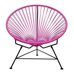"Innit - Innit Lounge Chair - Pink Weave on Black Frame - ""Relax in cool, contemporary style with this hot-weather Innit lounge chair from Innit Designs. Whether enjoying a tropical sunset from the patio, lounging poolside with friends, or simply curling up with a good book, the chair combines an eye-catching design with a fashionable place to unwind. Inspired by the airiness of backyard rope hammocks, the Innit lounge chair uses a traditional Mayan weaving technique to create a modern take on the classic woven chair. The chair's waterproof, UV-resistant vinyl cord comes securely wrapped around its recycled, rust-resistant, galvanized-steel frame, which provides a semi-textured polyester powder-coat for long-lasting durability and good looks from one season to the next. The lounge chair's woven vinyl not only offers visual appeal and breathability, but also exceptional support and comfort (no cushion needed). With its rounded, slightly reclined, hoop-shaped frame and tripod base, the lounge chair adds unique modern flair to almost any living space--both indoors and out--from the sunroom, living room, or bedroom to the back deck, patio, or porch. The seat can also be used interchangeably with the Innit Rocker rocking-chair base (sold separately).Dimensions: 33"""" wide by 33"""" deep by 31"""" high with a 15"""" sitting heightModern lounge chair with woven UV-resistant vinyl cord for breathability and supportRust-resistant, galvanized-steel frame and semi-textured polyester powder coatHoop-shaped frame and tripod base; for indoor/outdoor useWeatherproof, stackable, and easy to clean"""