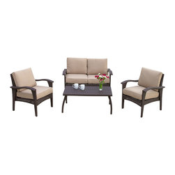 Great Deal Furniture - Voyage Outdoor 4pc Sofa Set, Brown - The Voyage Outdoor Sofa Set creates an exotic paradise in your own back yard. This set is known for its graceful curves and contemporary style. The rich brown color works in almost any outdoor setting and with almost any patio furniture. This set is the perfect place to entertain guests with cocktails, read a book, or lounge by the pool. Your family and friends will love its comfortable cushions and its elegant style. The entire set is made from PE Wicker, the industry standard and known for its weather resistance and durability. For style, reliability, and comfort, no other outdoor sofa set comes close to the Voyage Outdoor Sofa Set.