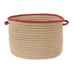 """Colonial Mills - Boat House Storage Basket - Rust Red, 14"""" x 10"""" - A natural look with a band of color. This braided storage basket is perfect for storing towels, pool toys, hose or other outside tools. Made in the USA and for indoor or outdoor use."""