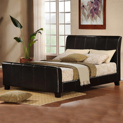 None - Tuscany Villa Dark Brown Upholstered King-size Sleight Bed - Wrapped in impressive dark brown vinyl, this upholstered king sleigh bed will enhance linens of any style and color. Uncomplicated lines and solidity will make this Tuscany Villa dark brown sleigh bed a focal point of understated elegance.