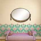 Fleur de Lily Damask Allover Stencil - Always inspired by the floral curves in Art Nouveau patterns, the Fleur de Lily Damask Stencil from Royal Design Studio takes elements from this decorative art movement to create an allover wall pattern fit for any room in your home.