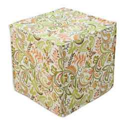 """Chooty - Chooty Findlay Apricot Collection 17"""" Square Seamed Foam Ottoman - Insert 100 High Density Foam, Fabric Content 55 Linen 45 Rayon, Color Cream, Orange, Green, Brown , Hassock 1"""
