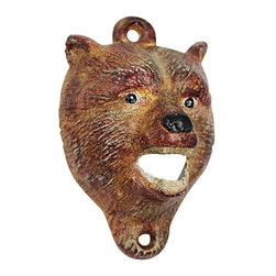 """EttansPalace - Brown Bear of The Forest Cast Iron Bottle Opener - While most big brown bears only open their powerful jaws to roar, ours also pops the lids on your favorite beverages! Our collectible, cast iron bottle opener is created using the time-honored sand cast method, and then hand-painted in vintage hues to highlight fluffy animal fur and wide eyes. This exclusive, faux antique replica is ready to be wall-mounted for proud display. 3""""W x 2""""D x 4""""H. 1 lb."""