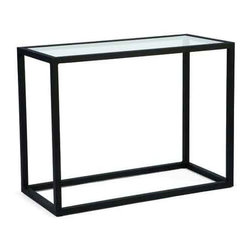 Woodard Salona Console Table - Our Salona Console table by Joe Ruggiero and Woodard is shown in a Midnight Finish.Glass Top Console Table