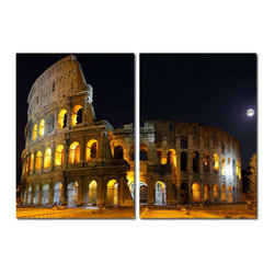 Baxton Studio - Baxton Studio Illuminated Coliseum Mounted Photography Print Diptych - This ancient Roman architectural marvel sits magnificently under the moonlight. Made in China with MDF wood frames, this two-piece modern wall art set features an image split in half and printed on two waterproof vinyl canvases. The Illuminated Coliseum Diptych is made in China and is fully assembled. Hardware for hanging on the wall of your choice is not supplied. To clean, wipe with a dry cloth.