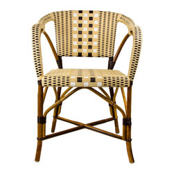 Cream, Brown & White Mediterranean Bistro Chair with Woven Arms - These rattan-framed stools are part of the iconic French bistros of Le Midi, or the south of France. Hand-woven and artisan crafted, these French style bistro bar stools in bright synthetic material, will add a pop of color to your outdoor or indoor space.