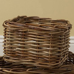 Logan Basket Utility Natural - Hand woven of thick, natural arurog in its natural hue, our durable baskets make the perfect home for all of your family's necessities. Keeps DVDs, CDs and small accessories organized. Sized to fit our Logan Home Office and media collections. Available in 2 sizes. Watch a video about {{link path='/stylehouse/videos/videos/ba_v3.html?cm_sp=Video_PIP-_-DECORATING-_-LOGAN_BASKET' class='popup' width='420' height='300'}}decorating with baskets{{/link}}. Catalog / Internet Only.