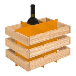 Inova Team -Rustic Wooden Wine Rack, Orange - It's a simple wine rack that can be stacked, placed on another piece of furniture, or wall-mounted side-by-side.