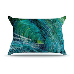 """Kess InHouse - Josh Serafin """"Natural High"""" Blue Green Pillow Case, King (36"""" x 20"""") - This pillowcase, is just as bunny soft as the Kess InHouse duvet. It's made of microfiber velvety fleece. This machine washable fleece pillow case is the perfect accent to any duvet. Be your Bed's Curator."""