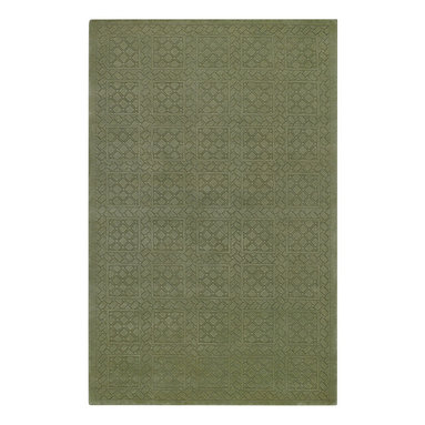First Impressions rug in Celery - Treasured antique wood block designs faithfully reproduced through hand carving make this lush, 100% wool pile rug collection an impressive offering for any home.