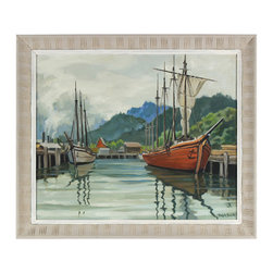 Lost Art Salon - Original Oil Serene Harbor 1962 - Your sail has just set with this oil on canvas piece by artist Ralph Smith. A timeless beauty, the peaceful scene of a calm port backed by mountainsides will give your room a sense of true serenity and past history.