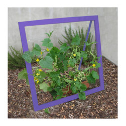 TerraTrellis - Mira Garden Trellis Jr. - Support your vines in style. Display a sturdy, self-standing colored steel trellis and train your veggies to sprout in an orderly and artful fashion. Come summer or autumn, reap your harvest of squash, beans, cukes or other yummy edibles.