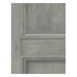 Aged Wood Panel Wallpaper - Grey - The grain of wood meets the ease of paper in this trompe l'oeil wall covering. Available in five refined shades, it creates the stately look of paneling for your favorite traditional setting.