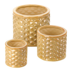 Koolekoo - Taupe Faceted Planter Trio - This planter set includes three different-sized pots to ensure your plants get the proper home. The glossy taupe finish and faceted design of this trio catches the sunlight to enhance your greenery with style.