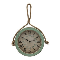 IMAX - Burton Coastal Wall Clock - Perfect for landlubbers charmed by the coastal look, or to count off the hours to the next seaside getaway, a nautically inspired, vintage wall clock on a chunky length of knotted rope.