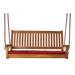 All Things Cedar - Teak Rope Swing with Green cushion - Handcrafted from genuine Solid Teak  by skilled artisans and appointed with a NATURAL Teak oil assures a lifetime of continued use. Brass hardware and rope included. Also included is a high density foam cushion. Item is made to order.