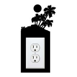 StickONmania - Outlet Palm Island Sticker - A cool sticker for your wall outlet. Decorate your home with original vinyl decals made to order in our shop located in the USA. We only use the best equipment and materials to guarantee the everlasting quality of each vinyl sticker. Our original wall art design stickers are easy to apply on most flat surfaces, including slightly textured walls, windows, mirrors, or any smooth surface. Some wall decals may come in multiple pieces due to the size of the design, different sizes of most of our vinyl stickers are available, please message us for a quote. Interior wall decor stickers come with a MATTE finish that is easier to remove from painted surfaces but Exterior stickers for cars,  bathrooms and refrigerators come with a stickier GLOSSY finish that can also be used for exterior purposes. We DO NOT recommend using glossy finish stickers on walls. All of our Vinyl wall decals are removable but not re-positionable, simply peel and stick, no glue or chemicals needed. Our decals always come with instructions and if you order from Houzz we will always add a small thank you gift.