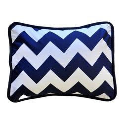 New Arrivals Inc. - Chevron Zig Zag Navy Throw Pillow -