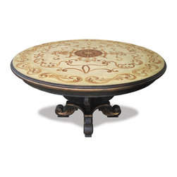 Bloomsfield Round Table, Black Baroque with Cream - Bloomsfield Round Table, Black Baroque with Cream