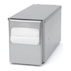 """Palmer Fixture - Counter-Top Lowfold Napkin Dispenser, Brushed Steel - The Counter-Top Napkin dispenser is constructed from brushed steel with soft rubber feet on the bottom that will not leave marks on your table. Designed for maximum durability and ease, they can be loaded from the top for quick refilling. They dispense one napkin at a time which helps to eliminate waste. Holds napkins with folded size dimensions of 6 1/2"""" L x 3 3/4"""" H and 2 3/4"""" fold height. Dimensions: 4 9/16"""" L x 11 3/4"""" W x 5 1/2"""" H"""