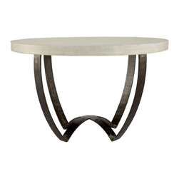Sleek Marble- Top Coffee Table - This table is sleek enough to fit into a strictly modern home as well as traditional look. And it also holds its own among a more ethnic, layered style. Sleek, somewhat graphic, and made from iron and marble, this table is a sure star in any residence.