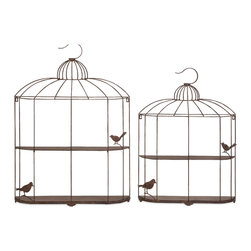 Open Cage Shelves - Set of 2 - Perfect for small fluttery figurines, this set of two open cage shelves feature feathery friends perched ever so eloquently in sculpted metal forms.