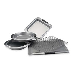 Anolon - Anolon Advanced 5 Piece Nonstick Bakeware Set - This bakeware set is an exceptional value, including all the basic pieces to accommodate all your baking needs. Made of heavy gauge carbon steel to aid in even browning these nonstick pans allow you to bake cakes and cookies without greasing the pan making cleanup a breeze.