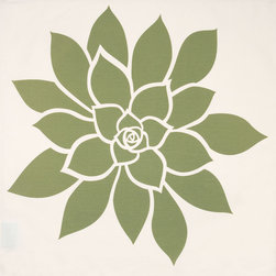 Wabisabi Green - Bloom Eco Napkins, Olive/Cream, Set of 4 - These pretty napkins let you enjoy elegant simplicity at every meal. Plus, they're made from ecofriendly fabric and hand-printed with environmentally safe inks — so you'll feel as good as they look!
