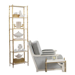 Global Views - Arbor Etagere, Brass & White Marble - Referencing the natural world, this beautiful etagere has a twig textured nickel or brass frame with six stationary black granite or white, honed marble shelves. The simple beauty of the materials shines through in this timeless design.