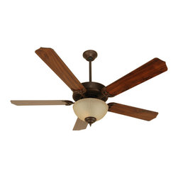 "Craftmade - Craftmade CDU202AG-CFL Aged Bronze Custom Blade Options Ceiling Fan - CD Unipack 202 Contractor s Fan with Integrated Bowl Light Kit The CD Unipack 202 is versatile, durable and features a Tea-Stained light kit. Features  Standard 153 x 12, 3 Speed Reversible Motor Blade Sweep Options: 42"" and 52"" Two Downrods Supplied, 2"" and 4"" 30 Year Limited Warranty Five Custom Blades matched to exact weight - sold separately, see below Universal Remote Adaptable - Optional Tea-Stained Glass Bowl Kit - Requires 2 60w CFL Bulbs or Incandescent Additional Blade Selections in 42"" Size Available  Popular combinations (see Product Multimedia):   Aged Bronze Motor with 52"" Contractor s Design Walnut Blades and Bowl Kit European bronze Motor with 52"" Contractor s Design Washed Walnut Birch Blades and Bowl Kit Brownstone Motor with 52"" Contractor s Design Washed Walnut Birch Blades and Bowl Light Kit Rustic Iron Motor with 52"" Contractor s Design Walnut Blades and Bowl Light Kit  Customize your fan:  Blade options: Works with Type 5 Blades Light kit options: Bowl Light Kit Included  Measurements (see Product Multimedia for accompanying line art)  A. Ceiling to Bottom of Light Kit with 2"" Downrod: 15.0"" A. Ceiling to Bottom of Light Kit with 4"" Downrod: 17.5"" B. Ceiling to Fan Blades 2"" Downrod: 8.5"" B. Ceiling to Fan Blades 4"" Downrod: 10.0"" C. Fan Width: 11.0"" D. Canopy Width: 5.125"" E. Motor Housing Height: 3.5"""