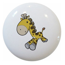 Carolina Hardware and Decor, LLC - Baby Giraffe Running Ceramic Knob - 1 1/2 inch white ceramic knob with one inch mounting hardware included.  Great as a cabinet, drawer, or furniture knob.  Adds a nice finishing touch to any room!