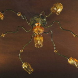 Artistica - Hand Made in Italy - Alba Lamp: Ceiling Lamp - G9 Bulb/Verde/Impero/Oro - Alba Lamp Collection.