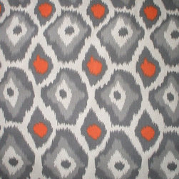 "Close to Custom Linens - 84"" Shower Curtain, Unlined, Adrian Orange Grey Beige Geometric - Adrian is a contemporary medium scale geometric in grey and orange on a neutral beige linen-textured background"
