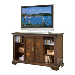 Home Styles - Home Styles Windsor Entertainment Credenza TV Stand - Home Styles - TV Stands - 554110 - The Windsor Entertainment Credenza TV Stand is constructed of poplar hardwoods with birch veneers in a multi-step Windsor finish. It features two sliding doors that open to reveal two side storage areas with two adjustable shelves and an open storage area in the middle with an adjustable shelf and a utility drawer for additional storage space. The back of the TV Stand has a wire management opening for your convenience. The routed argyle pattern on the doors creates a unique look and completes the appeal of the Windsor Entertainment Credenza TV Stand.Features: