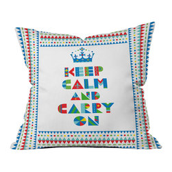 DENY Designs - Andi Bird Keep Calm And Carry On Outdoor Throw Pillow - Do you hear that noise? it's your outdoor area begging for a facelift and what better way to turn up the chic than with our outdoor throw pillow collection? Made from water and mildew proof woven polyester, our indoor/outdoor throw pillow is the perfect way to add some vibrance and character to your boring outdoor furniture while giving the rain a run for its money.