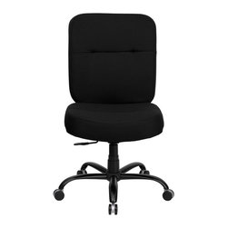 "Flash Furniture - HERCULES Series 500 lb. Capacity Big & Tall Black Fabric Office Chair with Extra - This chair has been tested to hold up to 500 lbs.! Not only will this chair hold the above average person, but it is amazingly comfortable. Chair will appeal for users of all heights and weights because of its comfort and sturdy construction. Chair has several adjustable functionalities so users can achieve their custom fit.; Big & Tall Swivel Office Chair; 500 lb. Weight Capacity; 22"" Extra Wide Seat; Black Fabric Upholstery; 5"" Thick Foam Padded Seat and Back Provides Added Comfort; Back Tilt Locks in any available position; Back Height Adjustment; Swivel Control Mechanism with Asynchronous Back Tilt; Pneumatic Seat Height Adjustment; Heavy Duty Black Metal Base; Dual Wheel Carpet Casters; Assembly Required: Yes; Country of Origin: China; Warranty: 2 Years; Weight: 58 lbs.; Dimensions: 39.5 - 44.5""H x 27""W x 31""D"