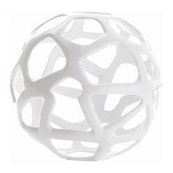 Arteriors - Ennis Small Sphere, White - Accessorize in style with this small metal free-form sphere. Perch it on a bookshelf, top a table or tuck it in your candlescape — anywhere that could use an added boost of visual interest.