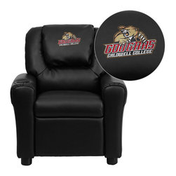 "Flash Furniture - Caldwell College Embroidered Black Vinyl Kids Recliner - Get young kids in the college spirit with this embroidered college recliner. Kids will now be able to enjoy the comfort that adults experience with a comfortable recliner that was made just for them! This chair features a strong wood frame with soft foam and then enveloped in durable vinyl upholstery for your active child. This petite sized recliner is highlighted with a cup holder in the arm to rest their drink during their favorite show or while reading a book.; Caldwell College Embroidered Kids Recliner; Embroidered Applique on Oversized Headrest; Overstuffed Padding for Comfort; Durable Black Vinyl Upholstery; Easy to Clean Upholstery with Damp Cloth; Cup Holder in armrest; Solid Hardwood Frame; Raised Black Plastic Feet; Intended use for Children Ages 3-9; 90 lb. Weight Limit; Meets or Exceeds CA117 Fire Resistance Standards; Safety Feature: Will not recline unless child is in seated position and pulls ottoman 1"" out and then reclines; Assembly Required: Yes; Country of Origin: China; Warranty: 2 Years; Weight: 17.5 lbs.; Dimensions: 27""H x 24""W x 21.5 - 36.5""D"
