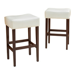 Great Deal Furniture - Duff Backless Leather Bar Stools, Ivory, Set of 2 - Add comfort to your home with our Duff Backless Leather Bar Stool. Upholstered in white soft bonded leather and unique backless design make it an ideal seat for any get together. Built from hardwood with espresso stained legs, our Duff bar stool is build to last for years to come.