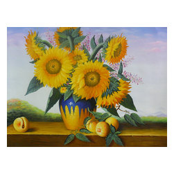Golden Lotus - Oil Paint Canvas Art Sunflowers Wall Decor - Oil painting on canvas.  ( ship in roll, no frame )