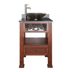 """Avanity - Avanity Napa 24"""" Single Bathroom Vanity with Black Granite Counter - Dark Cherry - The Napa Collection has a stunning traditional vine themed ironwork in a beautiful dark cherry finish. This vanity offers plenty of storage and has soft-close drawer glides. The 4"""" leg extension can be removed for a vessel application. A must is the beveled mirror with matching vine themed ironwork. Features 25""""W x 22""""D x 35""""H (with counter) 24""""W x 21.5""""D x 34""""H (no counter) Poplar solid wood and veneer in Dark Cherry finish Available with black granite, galala beige, white carrera countertop with white porcelain sink Cast iron inlays Antique brass finished hardware One soft-close drawer Adjustable height levelers Faucet not included View Spec Sheet for vanity How to handle your counter Natural stone like marble and granite, while otherwise durable, are vulnerable to staining from hair dye, ink, tea, coffee, oily materials such as hand cream or milk, and can be etched by acidic substances such as alcohol and soft drinks. Please protect your countertop and/or sink by avoiding contact with these substances. For more information, please review our """"Marble & Granite Care"""" guide."""