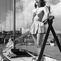 Cotton Queen Hilma Seay Wearing Bathing Suit and Standing on Boat -